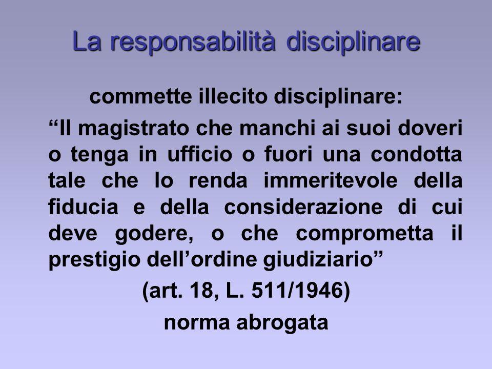 La responsabilità disciplinare commette illecito disciplinare: Il magistrato che manchi ai suoi doveri o tenga in ufficio o fuori una condotta tale ch