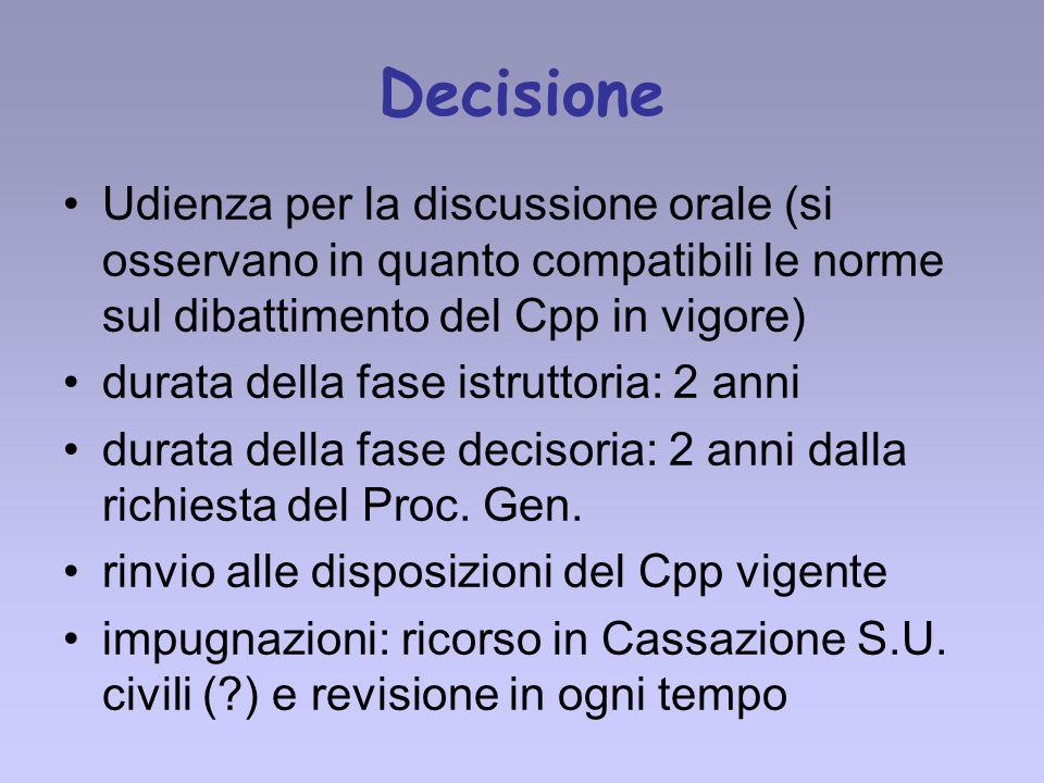 Decisione Udienza per la discussione orale (si osservano in quanto compatibili le norme sul dibattimento del Cpp in vigore) durata della fase istrutto