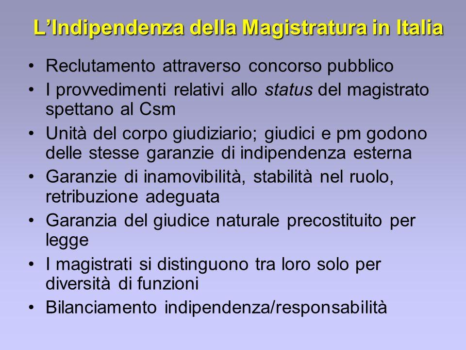 LIndipendenza della Magistratura in Italia Reclutamento attraverso concorso pubblico I provvedimenti relativi allo status del magistrato spettano al C