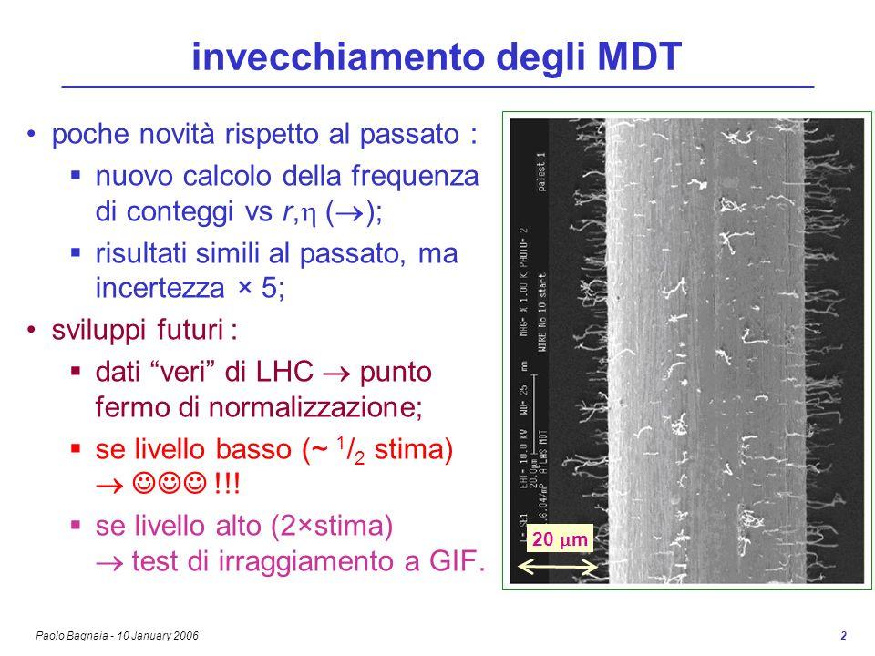 Paolo Bagnaia - 10 January 2006 2 invecchiamento degli MDT poche novità rispetto al passato : nuovo calcolo della frequenza di conteggi vs r, ( ); risultati simili al passato, ma incertezza × 5; sviluppi futuri : dati veri di LHC punto fermo di normalizzazione; se livello basso (~ 1 / 2 stima) !!.
