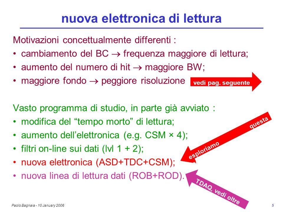 Paolo Bagnaia - 10 January 2006 5 nuova elettronica di lettura Motivazioni concettualmente differenti : cambiamento del BC frequenza maggiore di lettu