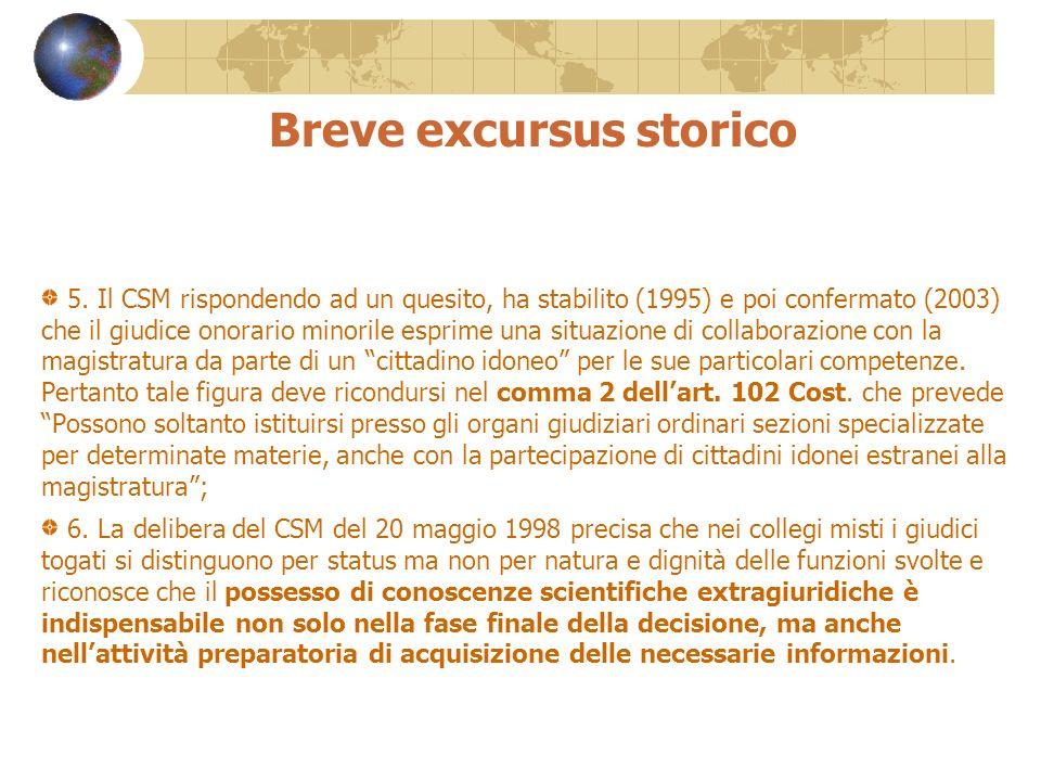 Breve excursus storico 5. Il CSM rispondendo ad un quesito, ha stabilito (1995) e poi confermato (2003) che il giudice onorario minorile esprime una s