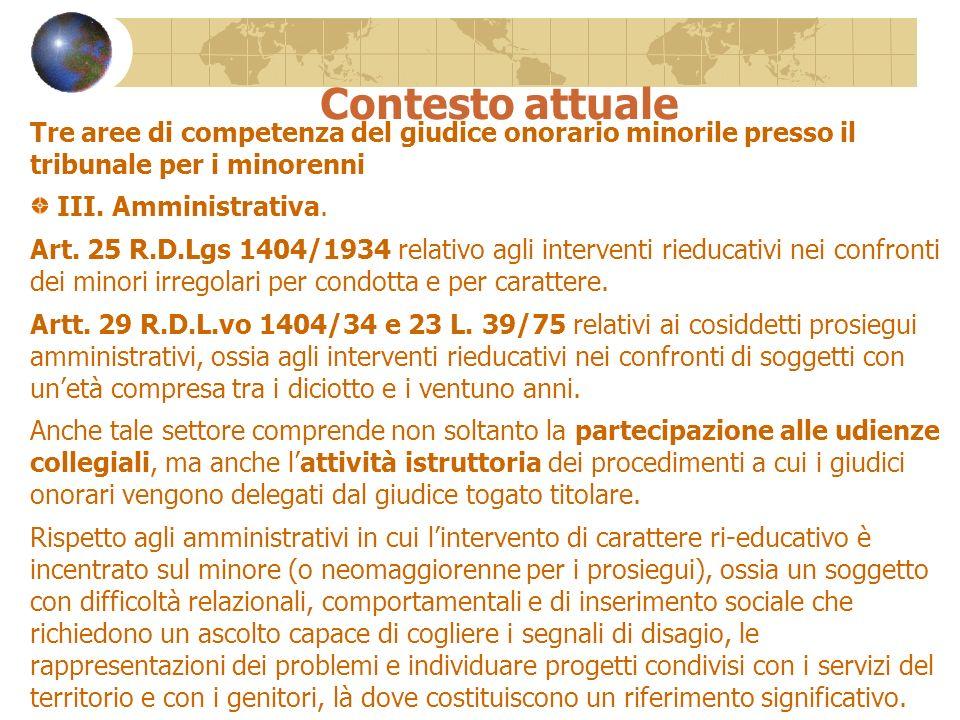 Contesto attuale Tre aree di competenza del giudice onorario minorile presso il tribunale per i minorenni III. Amministrativa. Art. 25 R.D.Lgs 1404/19