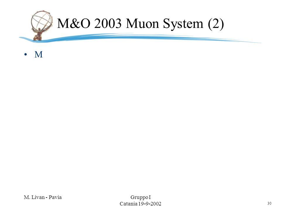 30 M. Livan - PaviaGruppo I Catania 19-9-2002 M&O 2003 Muon System (2) M
