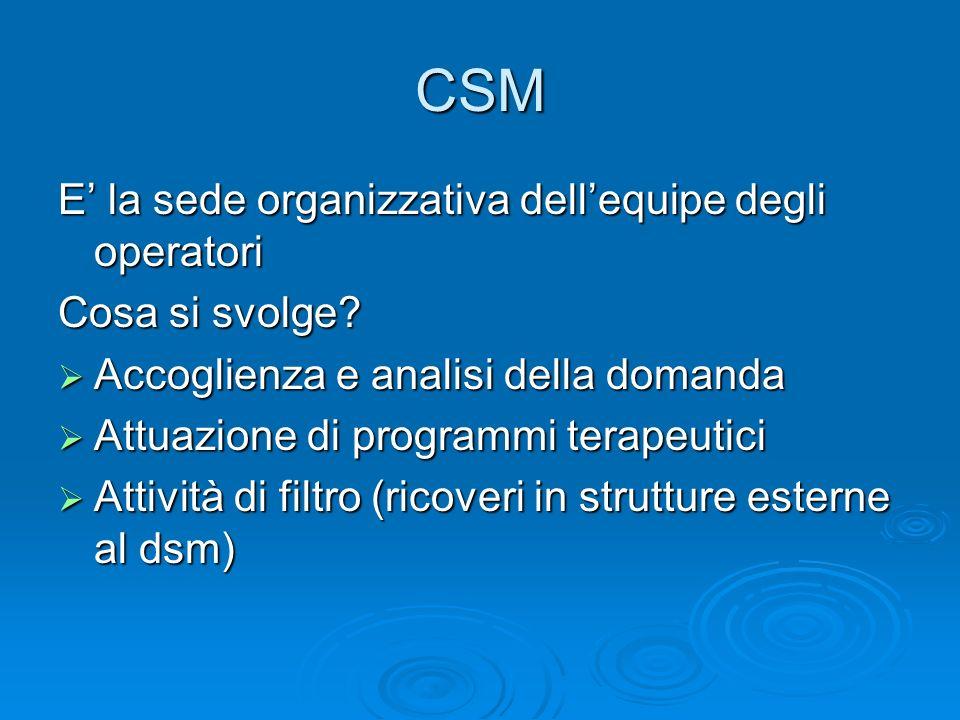 CSM E la sede organizzativa dellequipe degli operatori Cosa si svolge? Accoglienza e analisi della domanda Accoglienza e analisi della domanda Attuazi