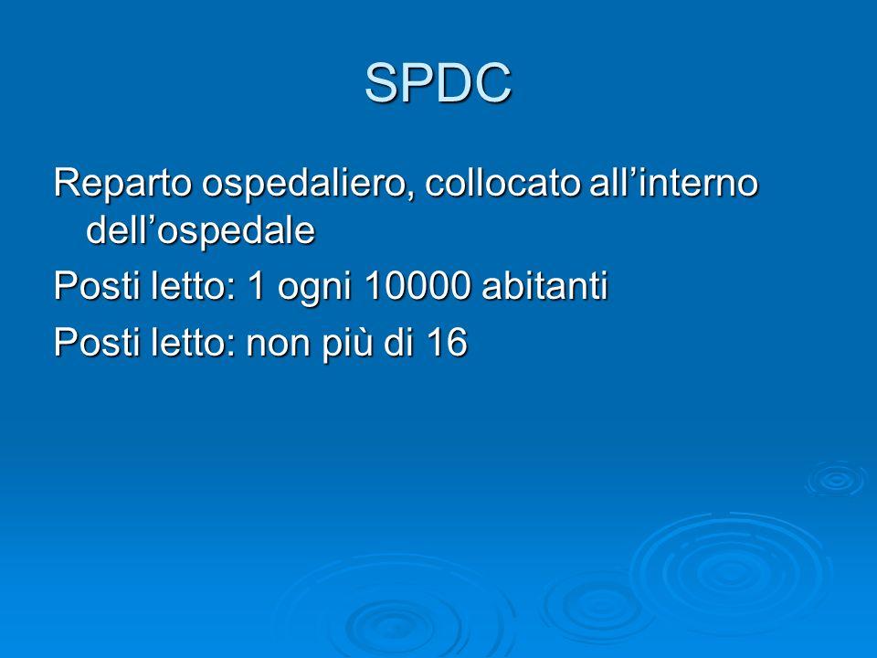 SPDC Reparto ospedaliero, collocato allinterno dellospedale Posti letto: 1 ogni 10000 abitanti Posti letto: non più di 16
