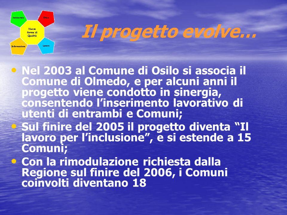 …e si colgono i risultati Sul finire del 2007 la RAS finanzia con 675.415,80 euro, il progetto obiettivo Il lavoro per linclusione, che comprende 18 Comuni, consente linserimento lavorativo di n.