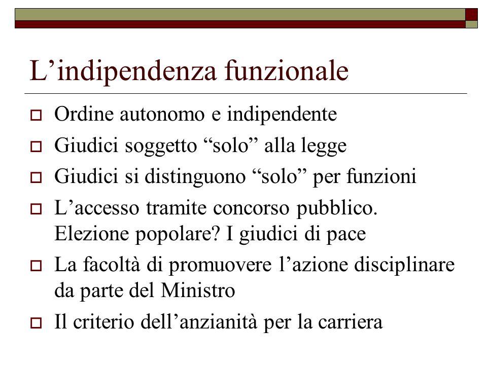 Lindipendenza funzionale Ordine autonomo e indipendente Giudici soggetto solo alla legge Giudici si distinguono solo per funzioni Laccesso tramite concorso pubblico.