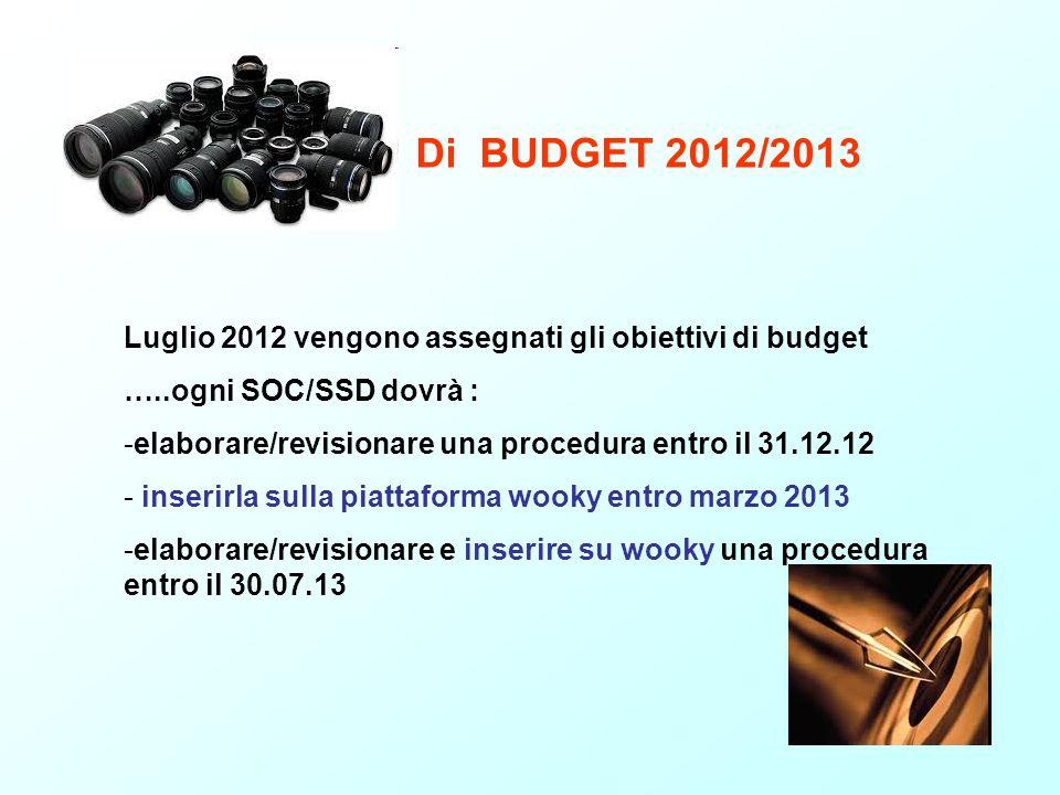 Di BUDGET 2012/2013 Luglio 2012 vengono assegnati gli obiettivi di budget …..ogni SOC/SSD dovrà : -elaborare/revisionare una procedura entro il 31.12.