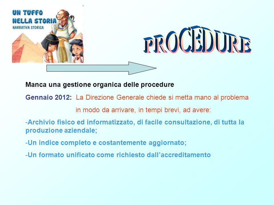 Gennaio 2012: La Direzione Generale chiede si metta mano al problema in modo da arrivare, in tempi brevi, ad avere: -Archivio fisico ed informatizzato