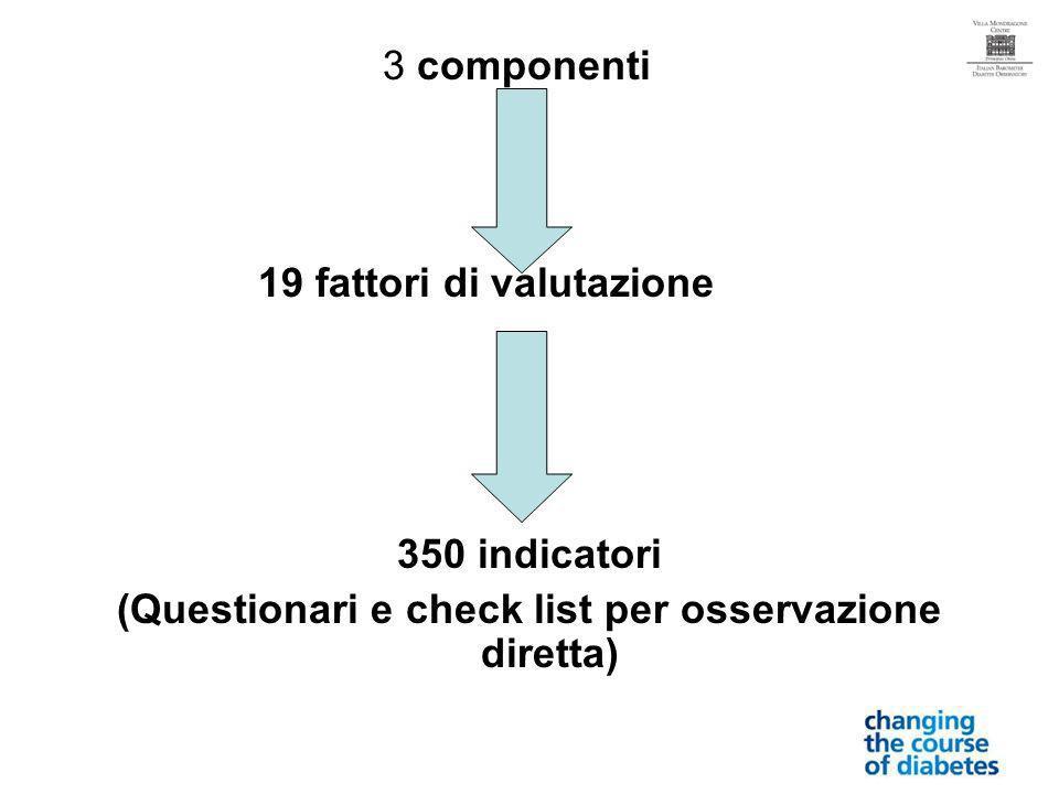 3 componenti 19 fattori di valutazione 350 indicatori (Questionari e check list per osservazione diretta)