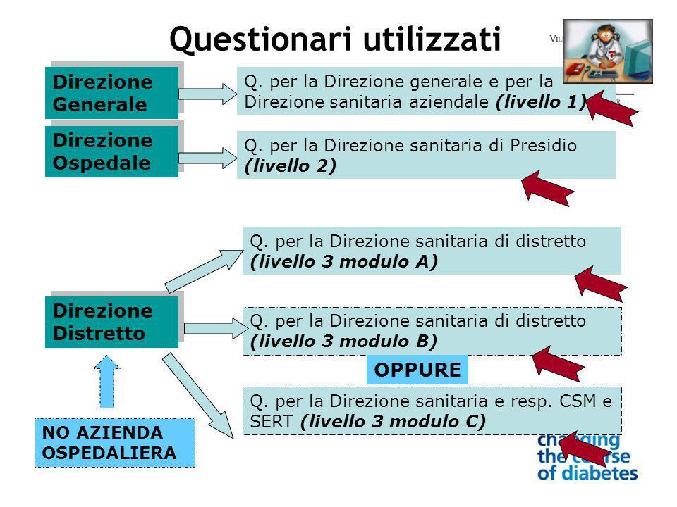 Direzione Generale Direzione Ospedale Direzione Distretto Questionari utilizzati Q.