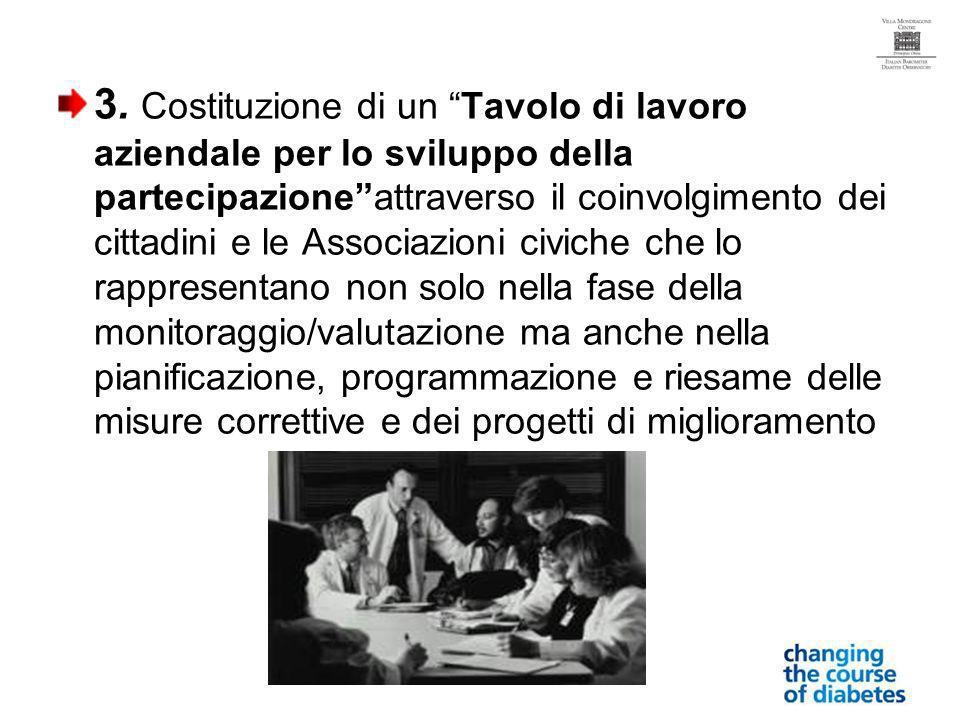 3. Costituzione di un Tavolo di lavoro aziendale per lo sviluppo della partecipazioneattraverso il coinvolgimento dei cittadini e le Associazioni civi