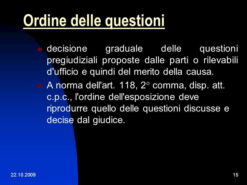 22.10.200914 La seconda parte della motivazione: i motivi (o ragioni) (in fatto e in diritto) della decisione esposizione delle ragioni logico- giurid