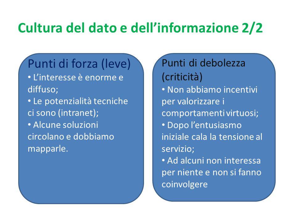 Cultura del dato e dellinformazione 2/2 Punti di forza (leve) Linteresse è enorme e diffuso; Le potenzialità tecniche ci sono (intranet); Alcune soluzioni circolano e dobbiamo mapparle.