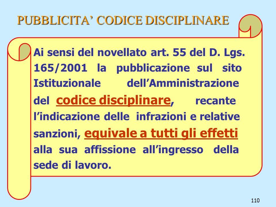 110 PUBBLICITA CODICE DISCIPLINARE Ai sensi del novellato art. 55 del D. Lgs. 165/2001 la pubblicazione sul sito Istituzionale dellAmministrazione del