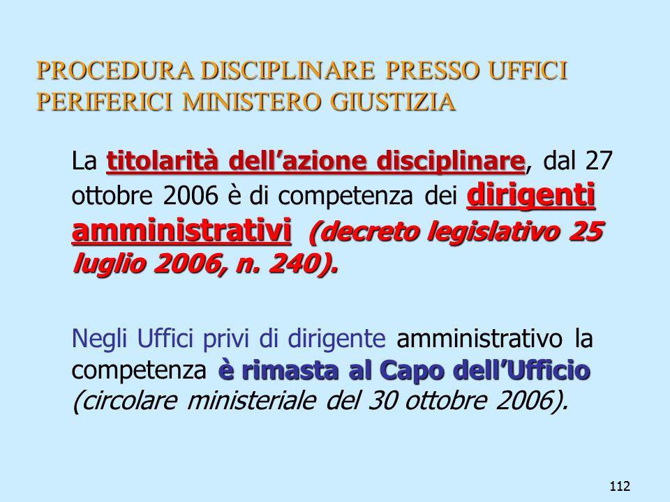 112 PROCEDURA DISCIPLINARE PRESSO UFFICI PERIFERICI MINISTERO GIUSTIZIA titolarità dellazione disciplinare dirigenti amministrativi (decreto legislati