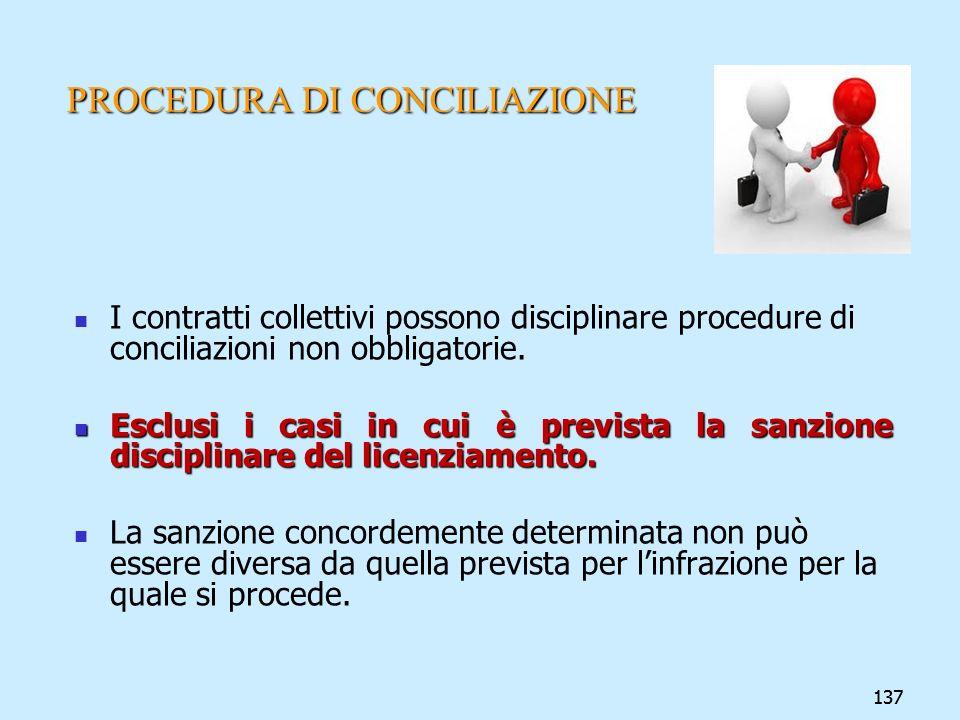 137 PROCEDURA DI CONCILIAZIONE I contratti collettivi possono disciplinare procedure di conciliazioni non obbligatorie. Esclusi i casi in cui è previs