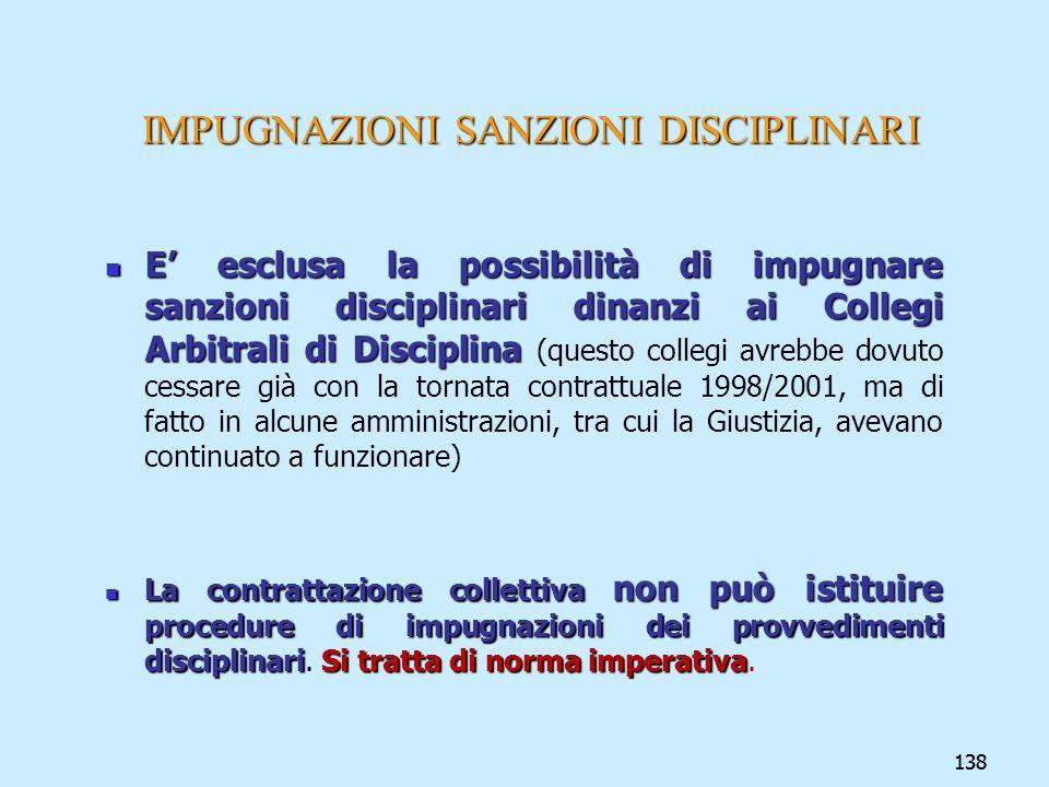 138 IMPUGNAZIONI SANZIONI DISCIPLINARI E esclusa la possibilità di impugnare sanzioni disciplinari dinanzi ai Collegi Arbitrali di Disciplina E esclus