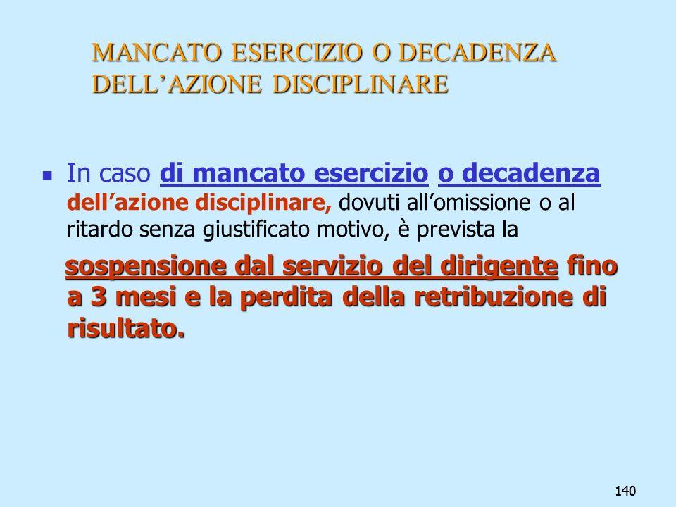 140 MANCATO ESERCIZIO O DECADENZA DELLAZIONE DISCIPLINARE In caso di mancato esercizio o decadenza dellazione disciplinare, dovuti allomissione o al r