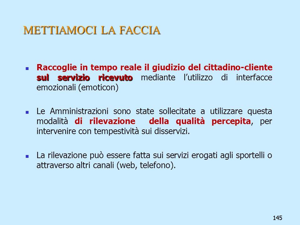 145 METTIAMOCI LA FACCIA sul servizio ricevuto Raccoglie in tempo reale il giudizio del cittadino-cliente sul servizio ricevuto mediante lutilizzo di