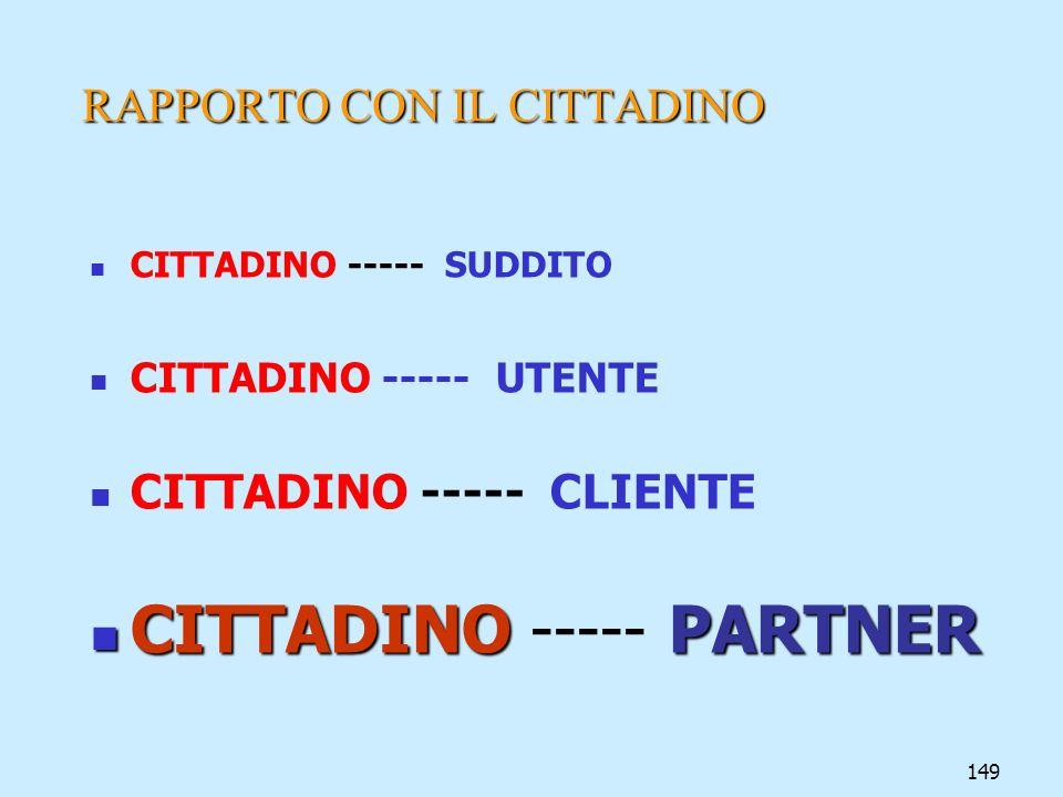 149 RAPPORTO CON IL CITTADINO CITTADINO ----- SUDDITO CITTADINO ----- UTENTE CITTADINO ----- CLIENTE CITTADINOPARTNER CITTADINO ----- PARTNER