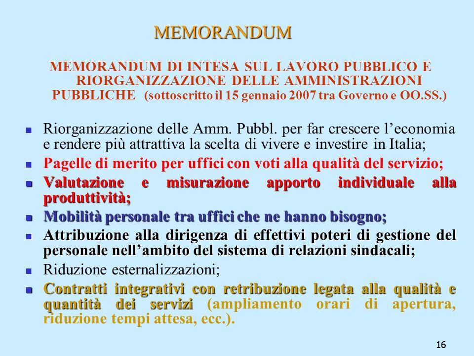16 MEMORANDUM MEMORANDUM MEMORANDUM DI INTESA SUL LAVORO PUBBLICO E RIORGANIZZAZIONE DELLE AMMINISTRAZIONI PUBBLICHE (sottoscritto il 15 gennaio 2007
