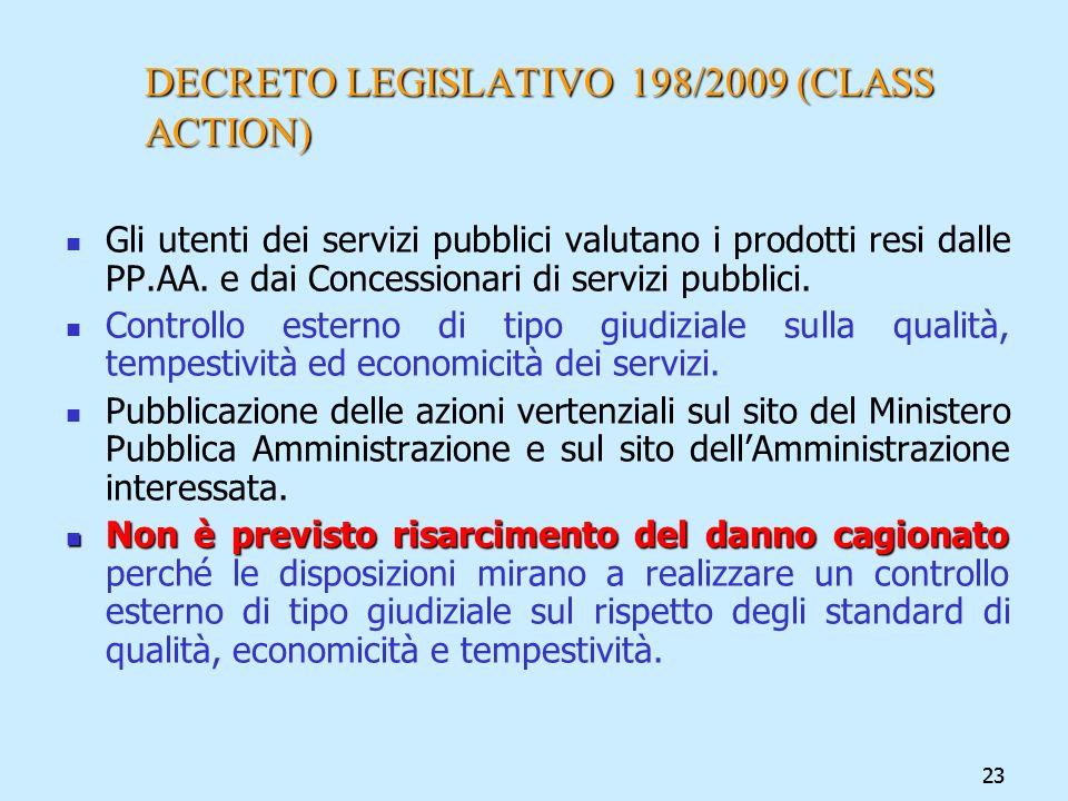 23 DECRETO LEGISLATIVO 198/2009 (CLASS ACTION) Gli utenti dei servizi pubblici valutano i prodotti resi dalle PP.AA. e dai Concessionari di servizi pu