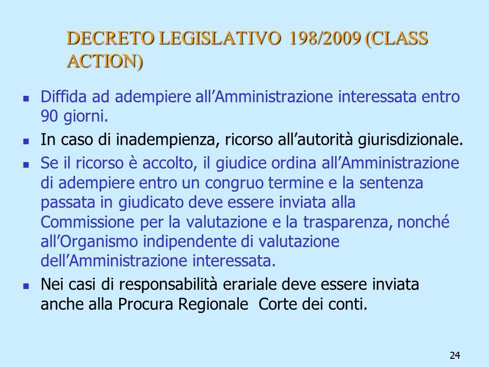 24 DECRETO LEGISLATIVO 198/2009 (CLASS ACTION) Diffida ad adempiere allAmministrazione interessata entro 90 giorni. In caso di inadempienza, ricorso a