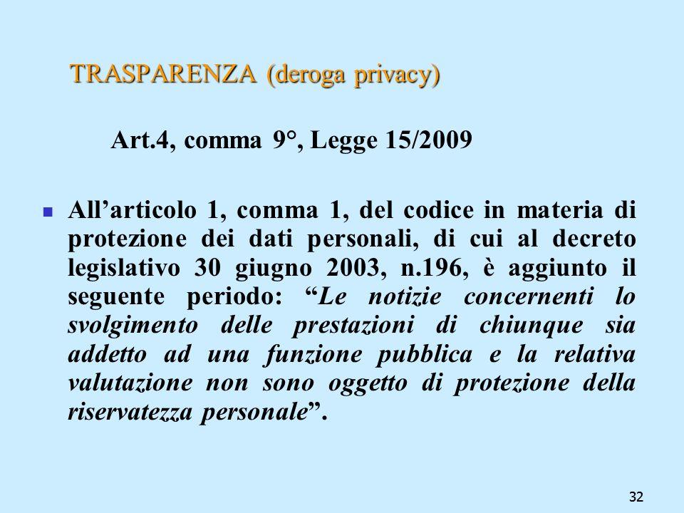32 TRASPARENZA (deroga privacy) Art.4, comma 9°, Legge 15/2009 Allarticolo 1, comma 1, del codice in materia di protezione dei dati personali, di cui