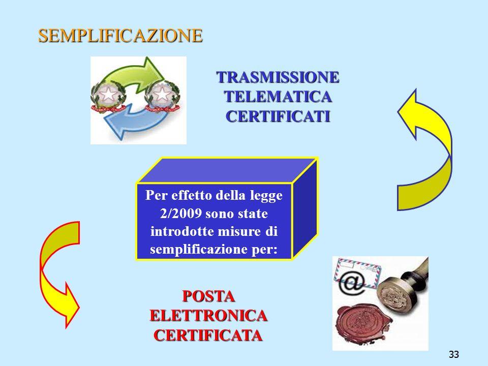 33 SEMPLIFICAZIONE POSTA ELETTRONICA CERTIFICATA TRASMISSIONE TELEMATICA CERTIFICATI Per effetto della legge 2/2009 sono state introdotte misure di se