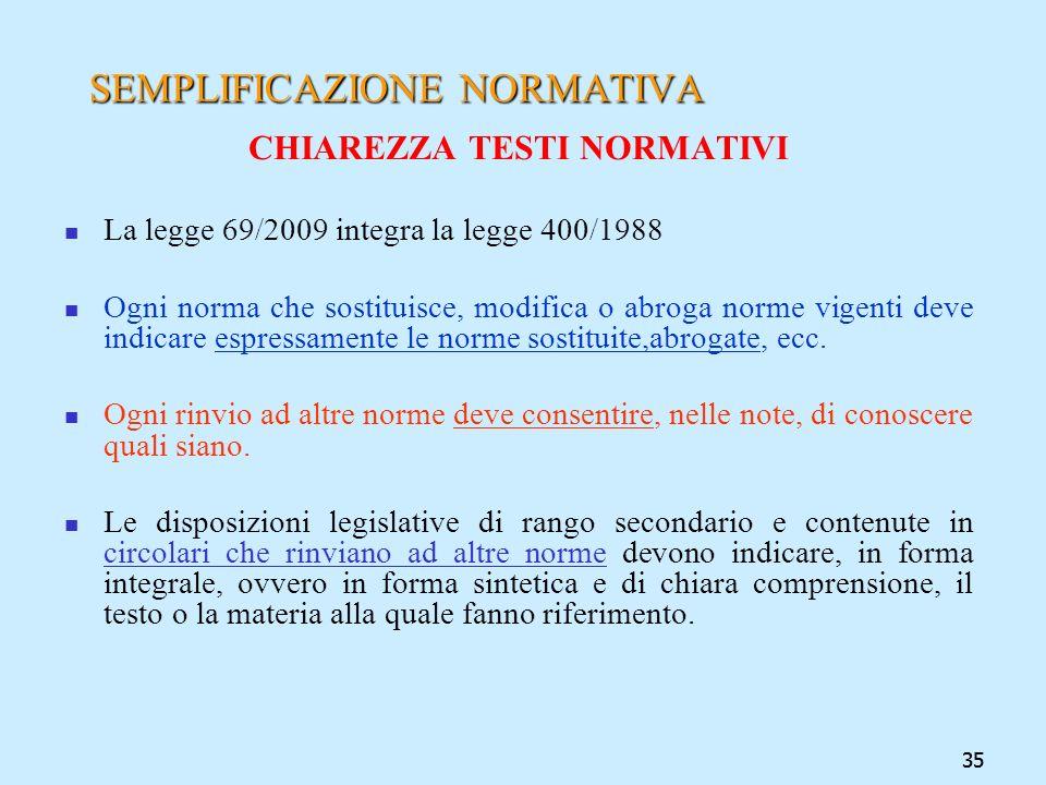 35 SEMPLIFICAZIONE NORMATIVA CHIAREZZA TESTI NORMATIVI La legge 69/2009 integra la legge 400/1988 Ogni norma che sostituisce, modifica o abroga norme