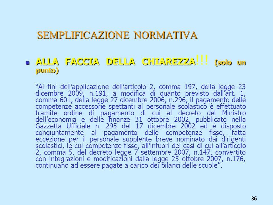 36 SEMPLIFICAZIONE NORMATIVA ALLA FACCIA DELLA CHIAREZZA (solo un punto) ALLA FACCIA DELLA CHIAREZZA !!! (solo un punto) Ai fini dellapplicazione dell