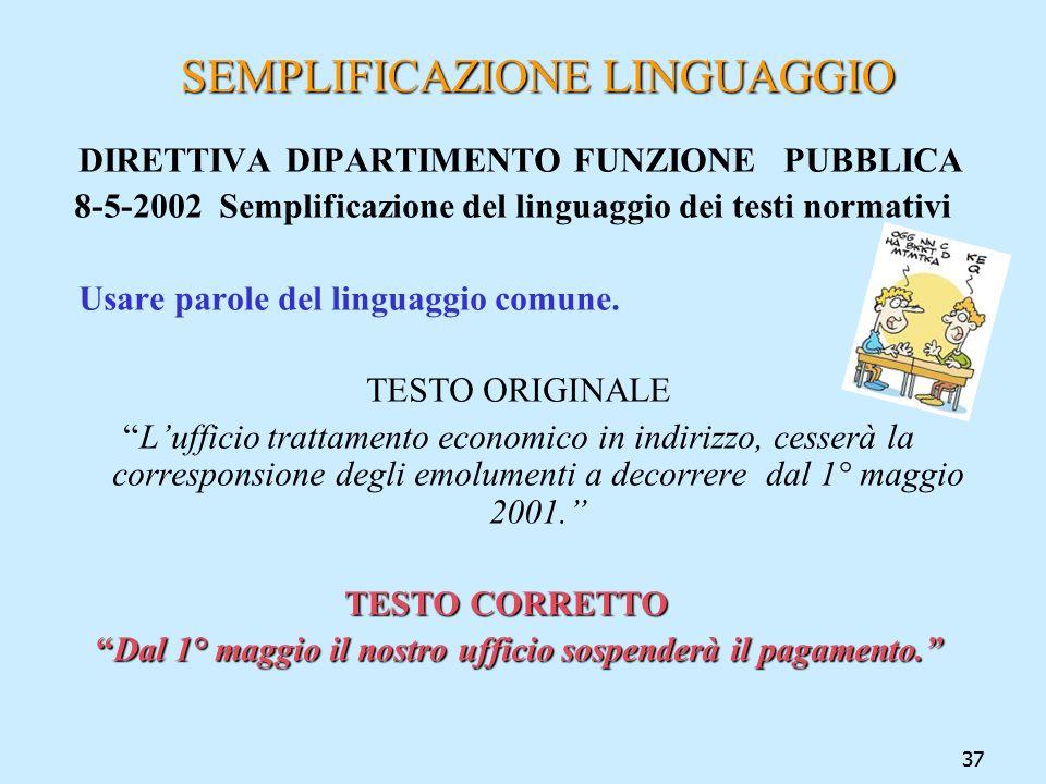 37 SEMPLIFICAZIONE LINGUAGGIO SEMPLIFICAZIONE LINGUAGGIO DIRETTIVA DIPARTIMENTO FUNZIONE PUBBLICA 8-5-2002 Semplificazione del linguaggio dei testi no