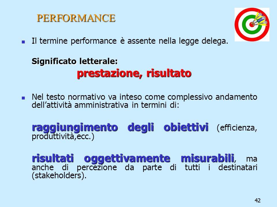 42 PERFORMANCE Il termine performance è assente nella legge delega. Significato letterale: prestazione, risultato Nel testo normativo va inteso come c