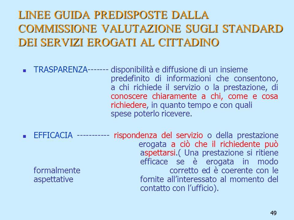 49 LINEE GUIDA PREDISPOSTE DALLA COMMISSIONE VALUTAZIONE SUGLI STANDARD DEI SERVIZI EROGATI AL CITTADINO TRASPARENZA------- disponibilità e diffusione