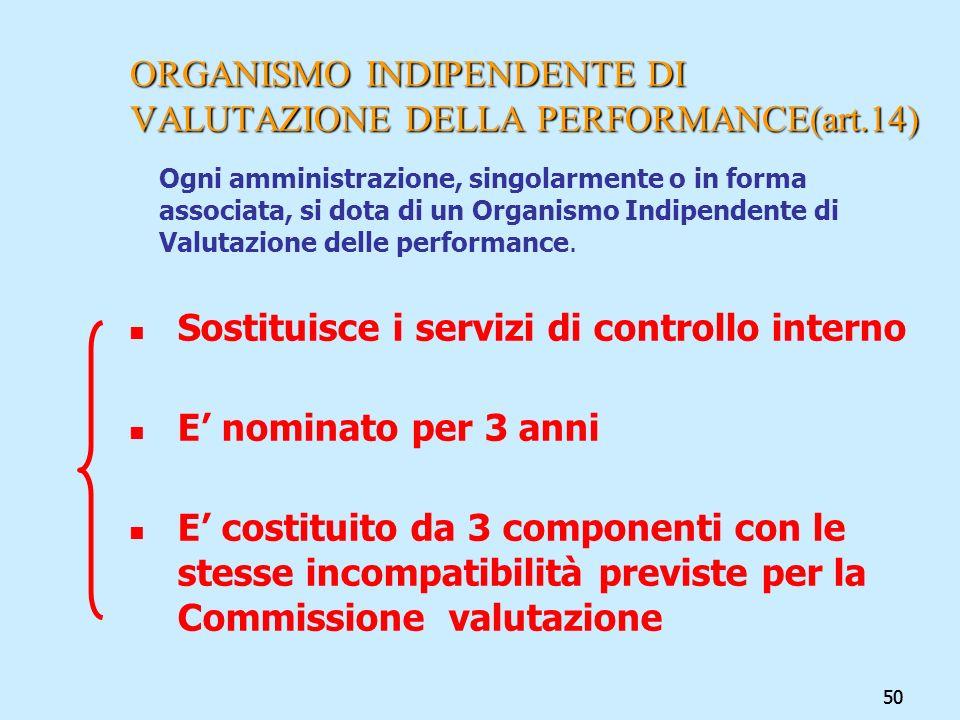50 ORGANISMO INDIPENDENTE DI VALUTAZIONE DELLA PERFORMANCE(art.14) Ogni amministrazione, singolarmente o in forma associata, si dota di un Organismo I