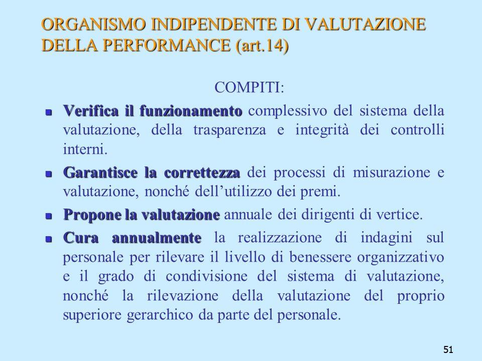 51 ORGANISMO INDIPENDENTE DI VALUTAZIONE DELLA PERFORMANCE (art.14) COMPITI: Verifica il funzionamento Verifica il funzionamento complessivo del siste