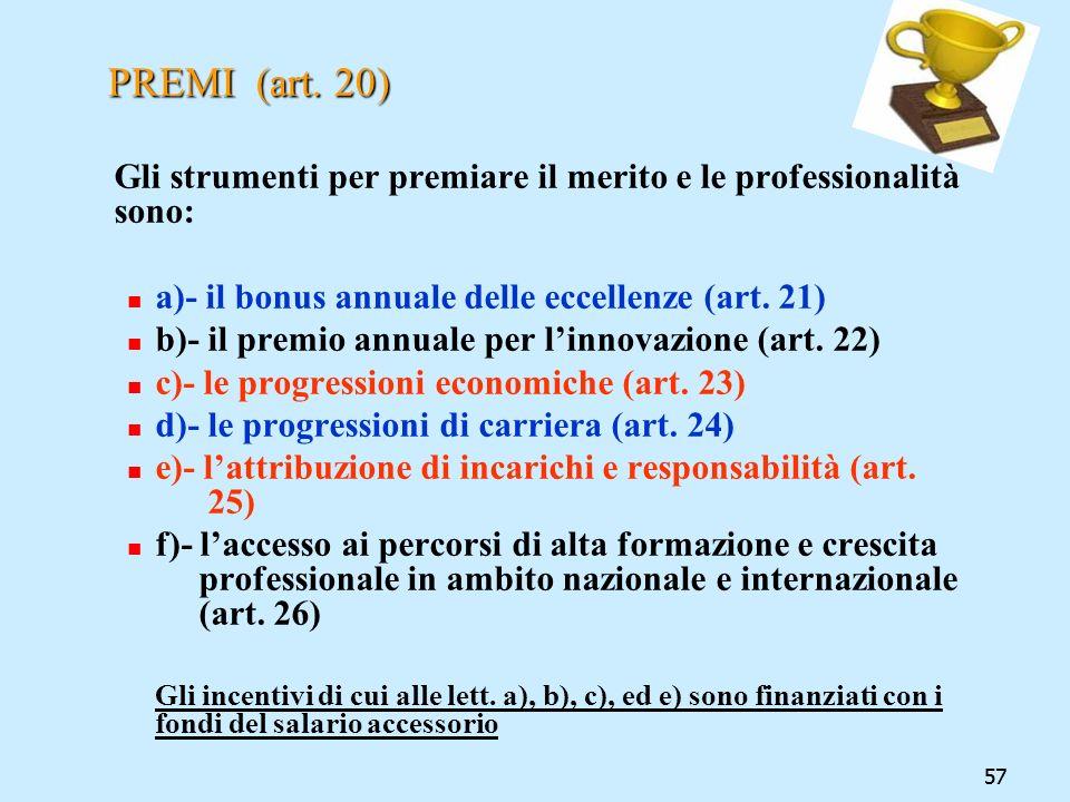 57 PREMI (art. 20) Gli strumenti per premiare il merito e le professionalità sono: a)- il bonus annuale delle eccellenze (art. 21) b)- il premio annua