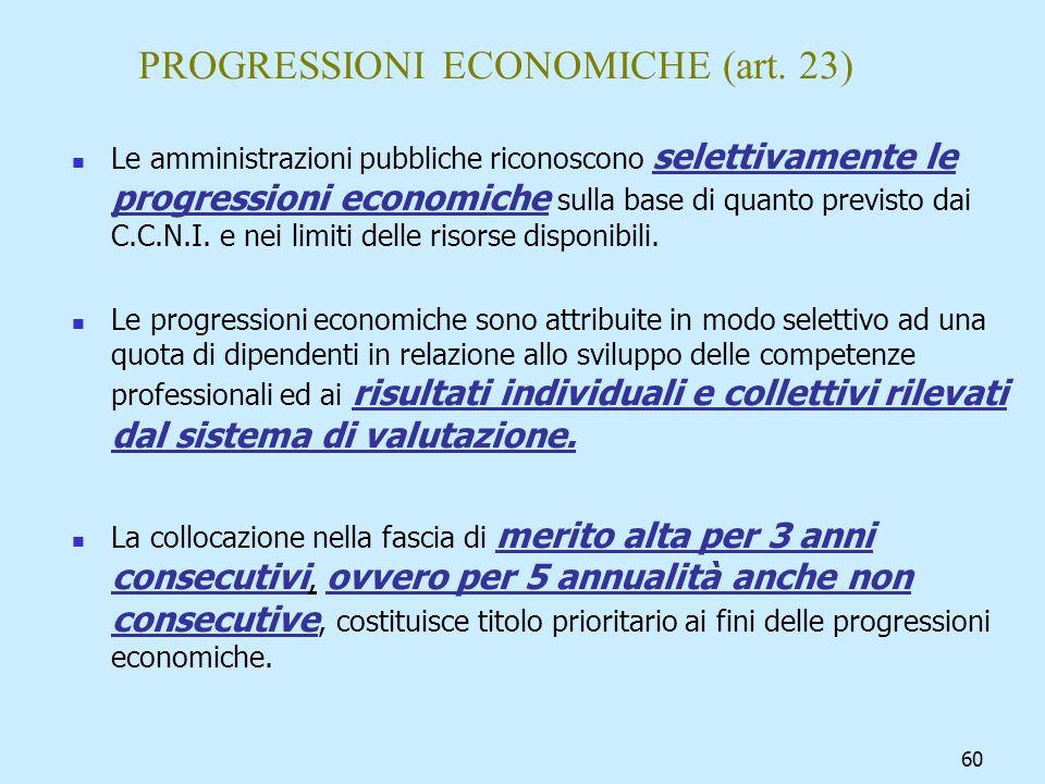 60 PROGRESSIONI ECONOMICHE (art. 23) Le amministrazioni pubbliche riconoscono selettivamente le progressioni economiche sulla base di quanto previsto