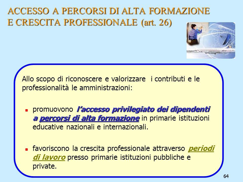 64 ACCESSO A PERCORSI DI ALTA FORMAZIONE E CRESCITA PROFESSIONALE (art. 26) Allo scopo di riconoscere e valorizzare i contributi e le professionalità