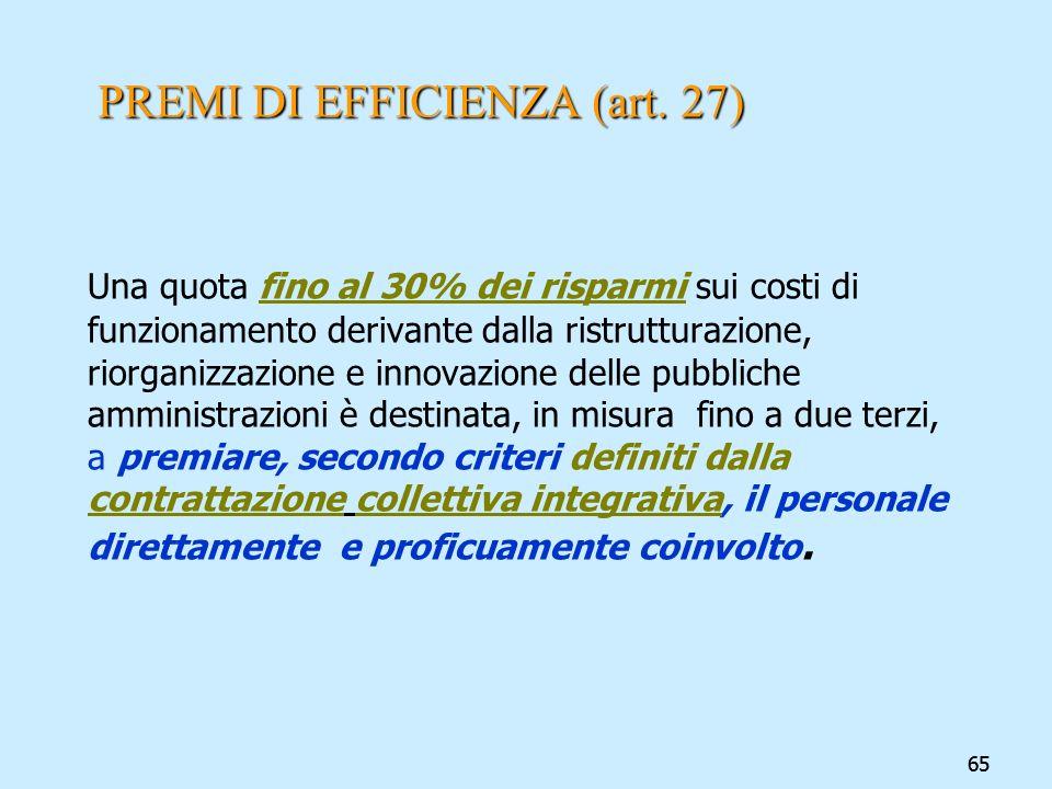 65 PREMI DI EFFICIENZA (art. 27) Una quota fino al 30% dei risparmi sui costi di funzionamento derivante dalla ristrutturazione, riorganizzazione e in