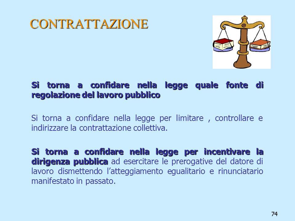 74 CONTRATTAZIONE Si torna a confidare nella legge quale fonte di regolazione del lavoro pubblico Si torna a confidare nella legge per limitare, contr