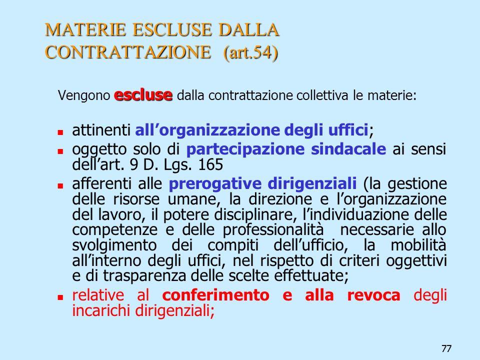 77 MATERIE ESCLUSE DALLA CONTRATTAZIONE (art.54) escluse Vengono escluse dalla contrattazione collettiva le materie: attinenti allorganizzazione degli