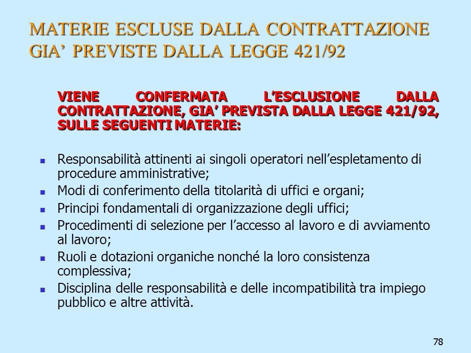 78 MATERIE ESCLUSE DALLA CONTRATTAZIONE GIA PREVISTE DALLA LEGGE 421/92 VIENE CONFERMATA LESCLUSIONE DALLA CONTRATTAZIONE, GIA PREVISTA DALLA LEGGE 42
