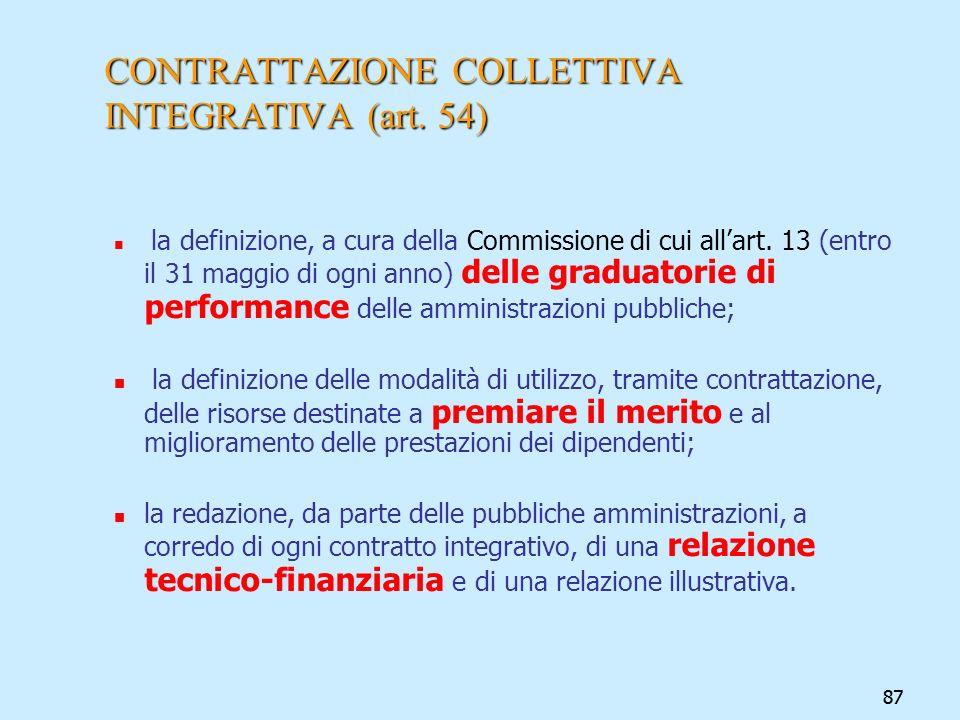 87 CONTRATTAZIONE COLLETTIVA INTEGRATIVA (art. 54) la definizione, a cura della Commissione di cui allart. 13 (entro il 31 maggio di ogni anno) delle