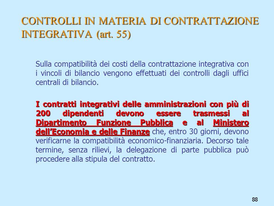 88 CONTROLLI IN MATERIA DI CONTRATTAZIONE INTEGRATIVA (art. 55) Sulla compatibilità dei costi della contrattazione integrativa con i vincoli di bilanc