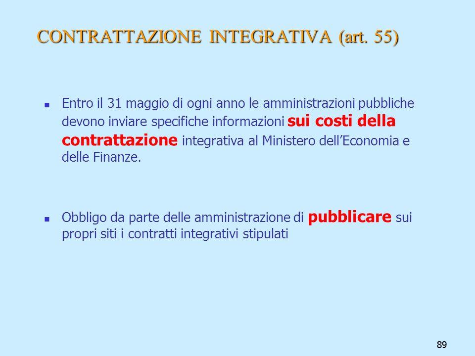 89 CONTRATTAZIONE INTEGRATIVA (art. 55) Entro il 31 maggio di ogni anno le amministrazioni pubbliche devono inviare specifiche informazioni sui costi