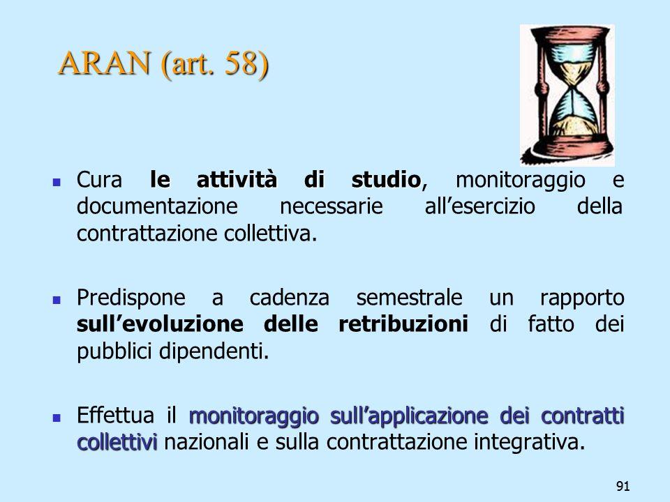 91 ARAN (art. 58) le attività di studio Cura le attività di studio, monitoraggio e documentazione necessarie allesercizio della contrattazione collett