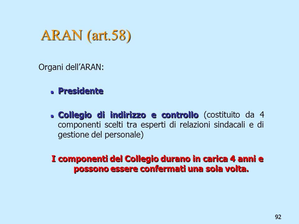 92 ARAN (art.58) Organi dellARAN: Presidente Presidente Collegio di indirizzo e controllo Collegio di indirizzo e controllo (costituito da 4 component